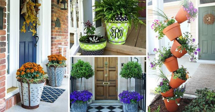 beautiful front door flower pots
