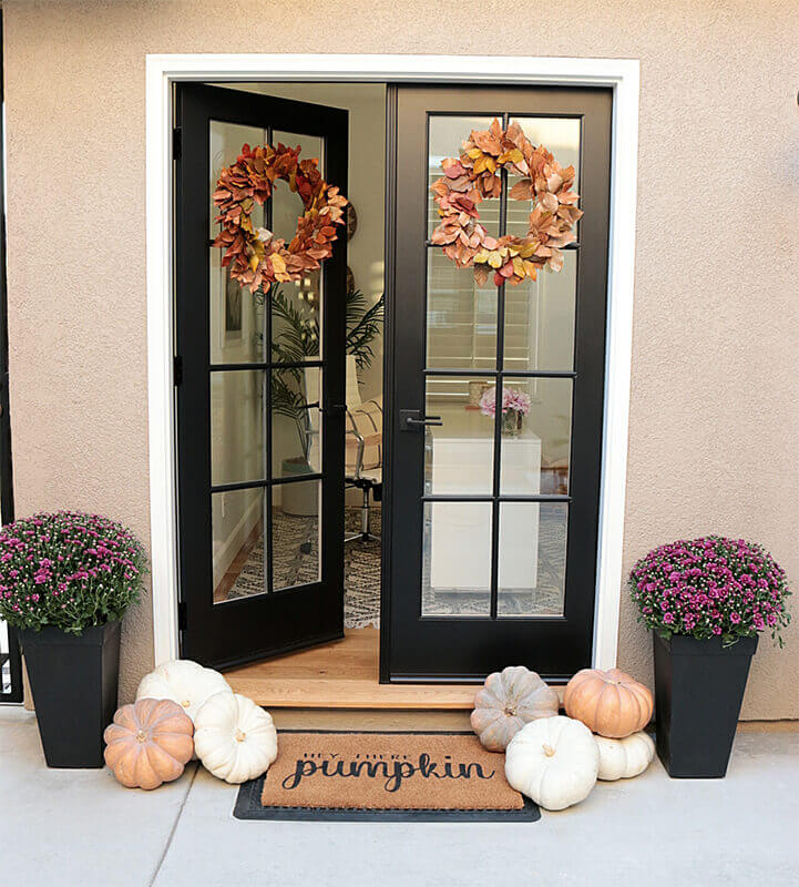 Multiple Flower Displays on Front Door